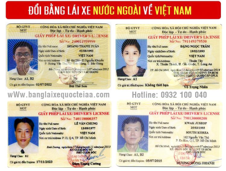 Mẫu bằng lái xe Việt Nam sau khi đổi từ bằng lái xe Mỹ sang Việt Nam